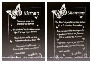 Poeme grave Parrain Marraine - Papillon