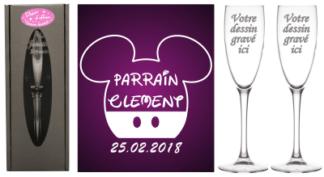 verre de bapteme Parrain Marraine - Theme deMickey Mouse