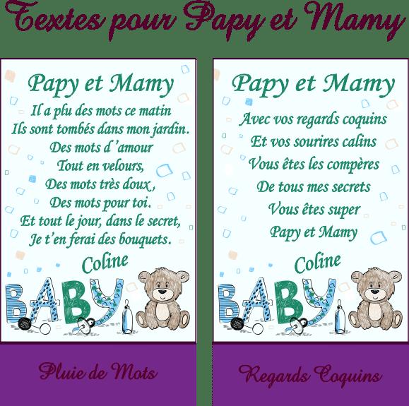 Cadre Photo Poème Mamy Papy Mod Fbleu