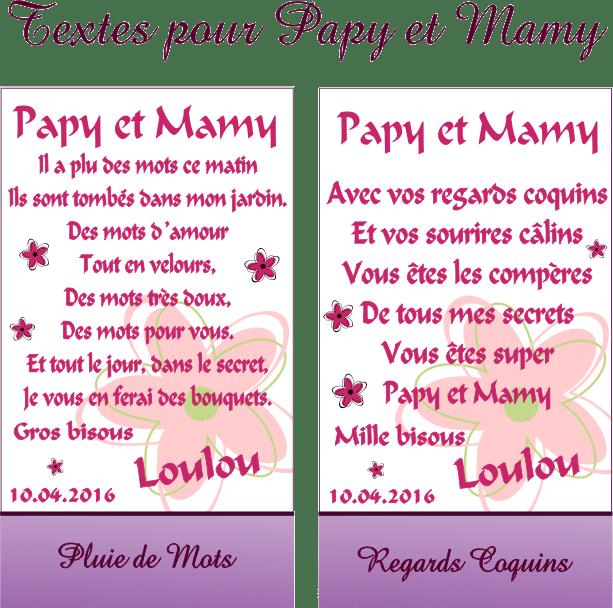 Cadre Photo Poème Mamy Papy Mod P