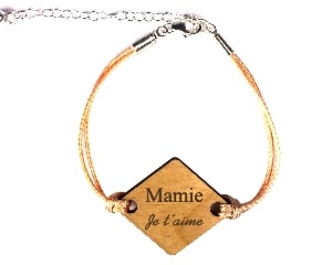 Bracelet - medaille Losange Mamie Je t aime