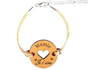 Bracelet - medaille RondCoeur Mamie Je t aime